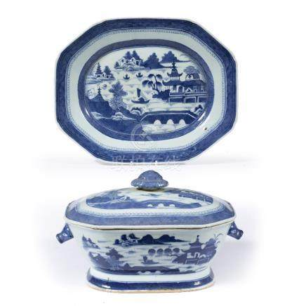 Export blue and white tureen,cover and stand Chinese, 19th century decorated with river scene,
