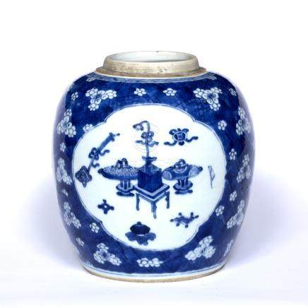 Blue and white porcelain ginger jar Chinese, Kangxi (1662-1722) having quatrefoil reserve panel with