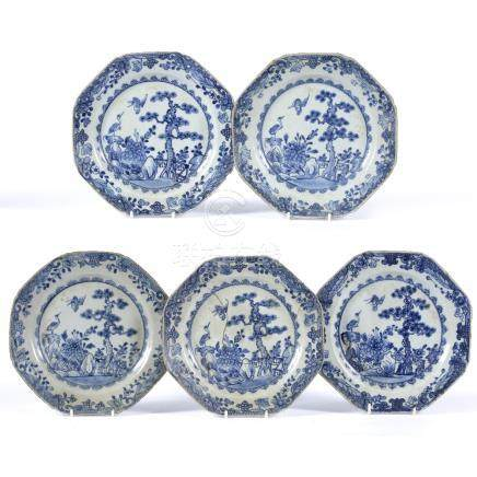 Group of five blue and white octagonal plates Chinese, early 19th Century 22.5cm across approx
