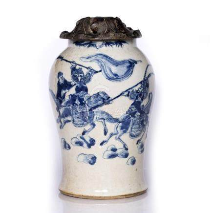 Blue and white vase Chinese, 19th Century of baluster form, depicting soldiers on horseback