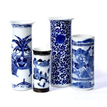 Blue and white cylindrical vase Chinese, 19th Century scrolling lotus design, Kangxi mark 26cm and