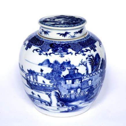 Blue and white porcelain ginger jar and cover Chinese, 19th Century with landscape and bridge