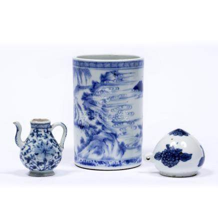 Blue and white bird feeder Chinese, circa 1900 7cm miniature blue and white ewer, 6.5cm and a