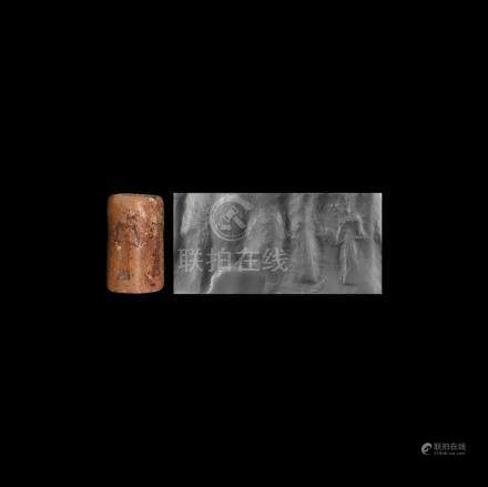 Western Asiatic Cylinder Seal with Worship Scene