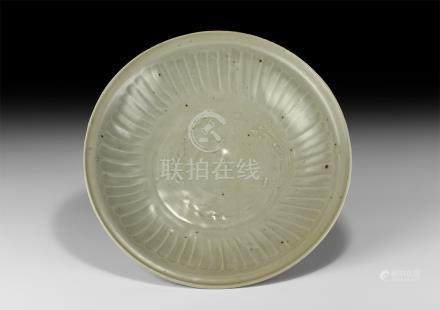 Chinese Longquan Celadon Glazed Shallow Dish