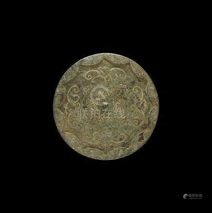 Chinese Han Disc Mirror with Tendrils