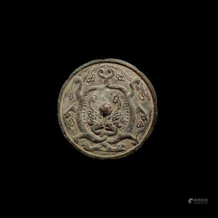 Chinese Tang Mirror with Entwined Dragons