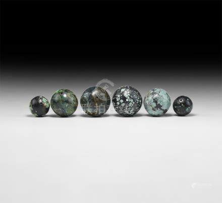 Chinese Tang Turquoise and Serpentine Bead Group