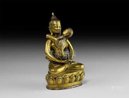 Tibetan Gilt Erotic Sitting Buddha Statuette