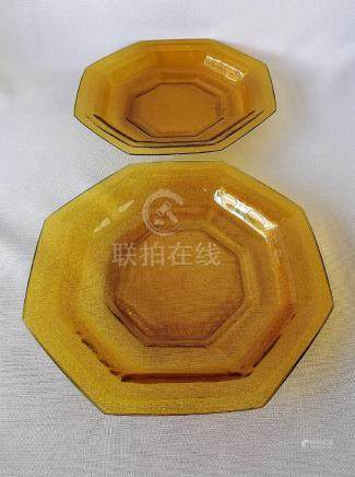 TWO CHINESE 19TH C. GUANGXU PEKING GLASS PLATES