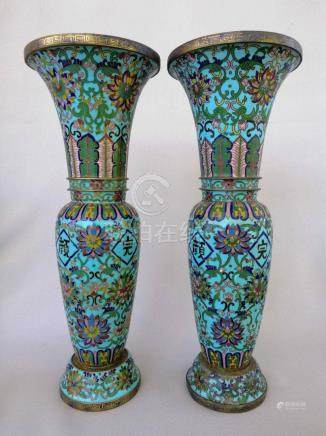 PAIR SUPERB CHINESE QING DYNASTY CLOISONNE VASES