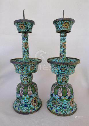 PAIR CHINESE QING DYNASTY CLOISONNE CANDLE HOLDERS