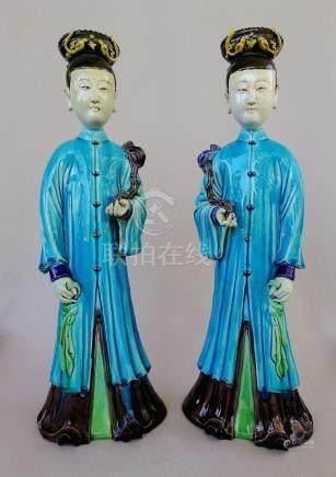 PAIR OF NICE CHINESE MAID FIGURES IN BLUISH DRESSG