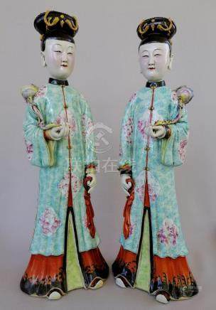PAIR CHINESE MAID FIGURES IN LIGHT BLUISH DRESSING