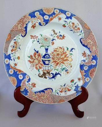 LARGE CHINESE QING DYNASTY FAMILLE ROSE PLATE