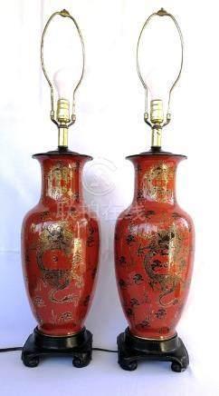 PAIR OF CHINESE 19TH/20THC REDDISH CERAMIC VASES