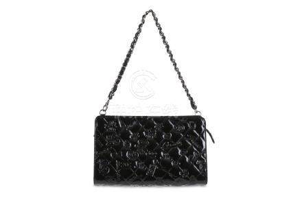 Chanel Black Patent Lucky Charms Clutch, c. 2010,