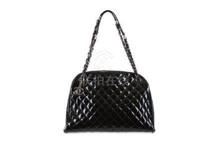 Chanel Black Patent Mademoiselle Tote, c. 2011, quilted