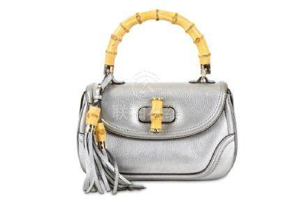 Gucci Metallic Silver New Bamboo Bag, grained leather