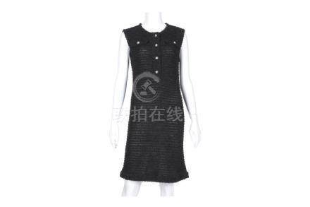 Chanel Black Tweed Cocktail Dress, 2010s, sleeveless