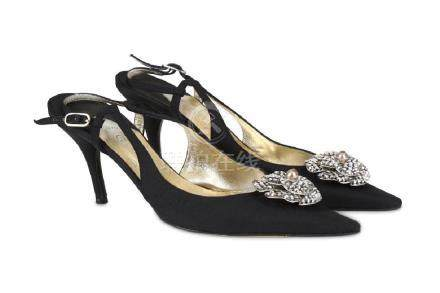 Chanel Crystal Camellia Kitten Heels, black fabric with