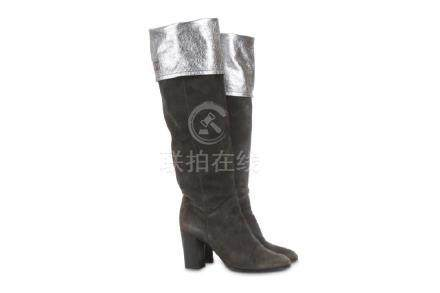 Chanel Silver and Grey Knee High Boots, suede and