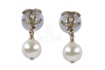 Chanel Pearl Drop Earrings, silver tone CC with faux