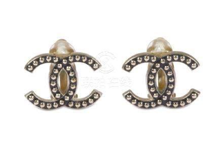 Chanel CC Clip On Earrings, c. 2010, studded design,