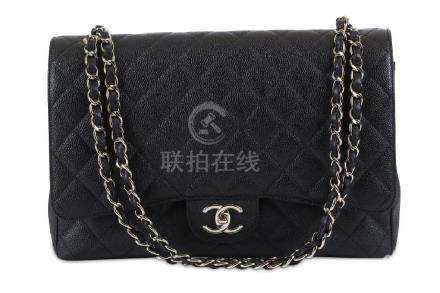 Chanel Black Maxi Double Flap Bag, c. 2012, quilted
