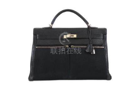 Hermès Black Clemence and Toile Lakis Kelly 40, c.