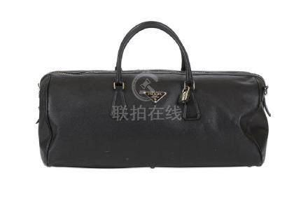 Prada Black Saffiano Duffel Bag, silver tone hardware,