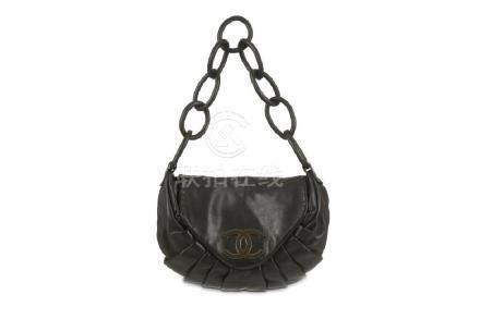 Chanel Black Leather Shoulder Bag, c. 2004-05, smooth