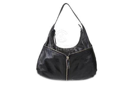 Fendi Black Zipper Shoulder Bag, distressed leather
