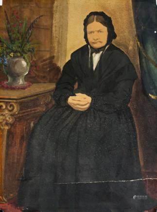 American Oil on Board Red Portrait Woman