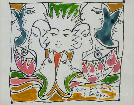 Jean Cocteau French Watercolor on Paper