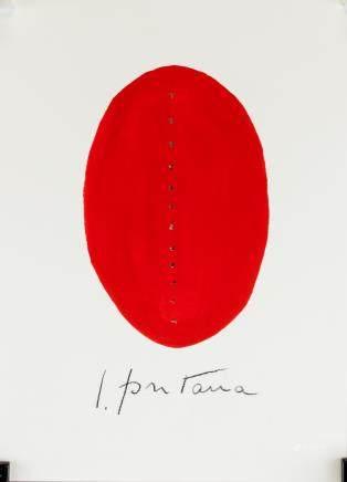 Lucio Fontana Argentine-Italian Abstract Tempera