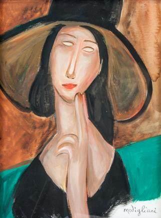 Amedeo Modigliani Italian Fauvist Gouache/Paper