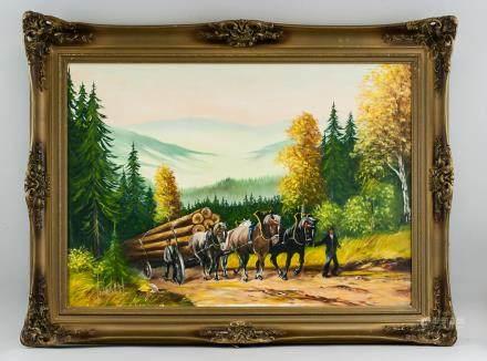 European Oil on Canvas Portrait Signed