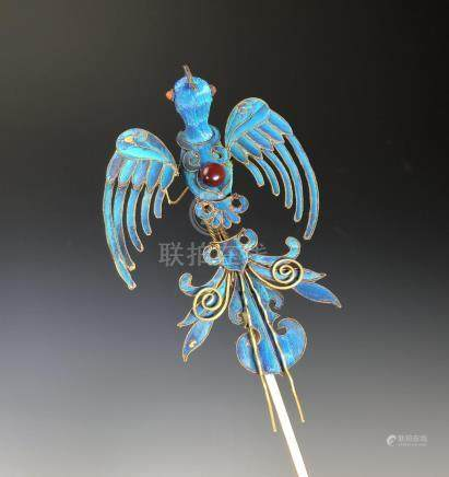 Chinese Kingfisher Feather Hair Pin