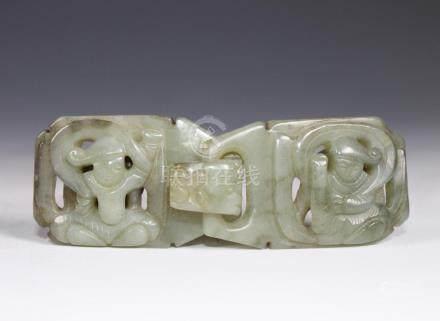 A Carved Celadon Jade Belt Buckle