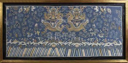 Framed Embroidered Textile Silk Kesi Dragon Panel