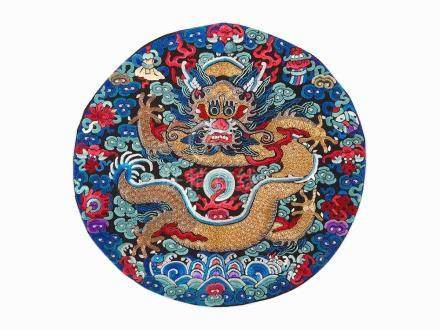 Silk Embroidered Five-Claw Dragon Roundel, 19th Century