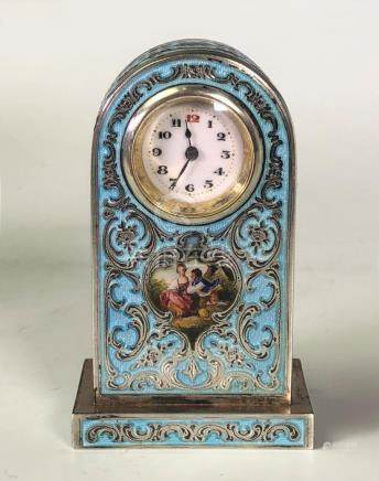 Blue and Silver Enamel Clock