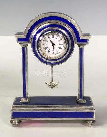 Blue Silver and Enamel Clock