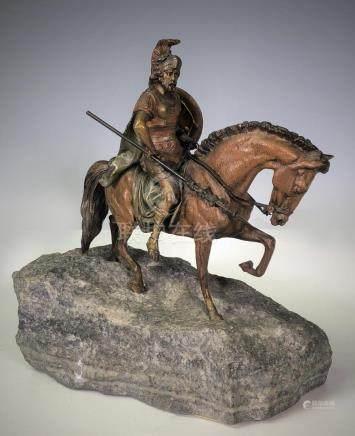 Gladiator on Horse on Stone Base signed