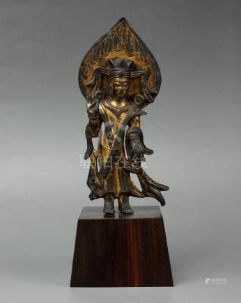 Gilt Bronze Buddhist Votive Stele of Guanyin