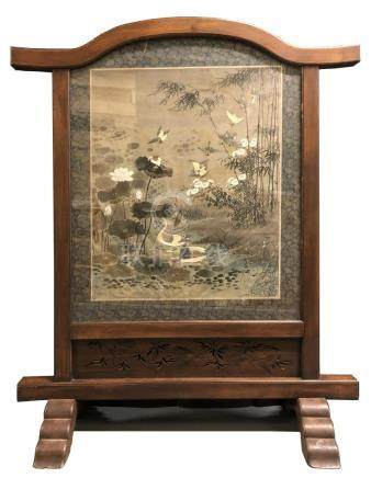 Embroidered Silk Panel in Wood Stand