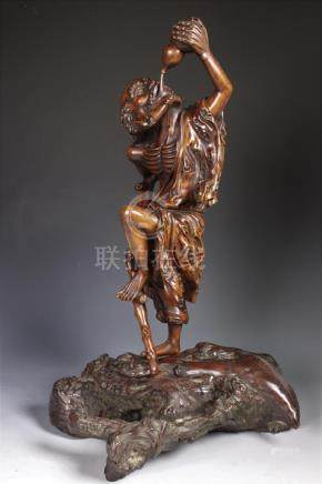 Carved Huanghuali Figure of LOHAN