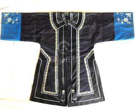 Silk Robe with Embroidered Sleeve Panels