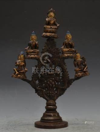 Gilt Bronze Five Seated Buddha Tree